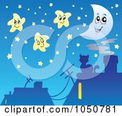Royalty Free RF Clip Art Illustration Of A Background Of Roof Tops And A Cat Under A Night Sky
