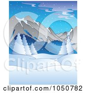 Royalty Free RF Clip Art Illustration Of A Winter Background Of Flocked Trees And Mountains