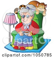 Royalty Free RF Clip Art Illustration Of A Granny Sitting In A Chair With Her Cat Napping Behind Her