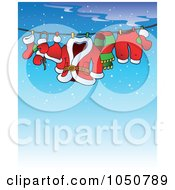 Royalty Free RF Clip Art Illustration Of Santas Laundry Drying On A Clothesline Over Blue by visekart