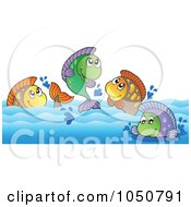 Royalty Free RF Clip Art Illustration Of Freshwater Fish In A River