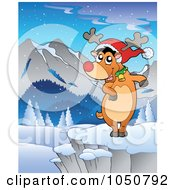Royalty Free RF Clip Art Illustration Of Rudolph Dancing In A Winter Landscape