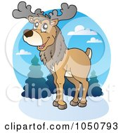 Royalty Free RF Clip Art Illustration Of A Caribou Logo by visekart