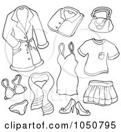 Royalty Free RF Clip Art Illustration Of A Coloring Page Of A Digital Collage Of Female Clothing Items