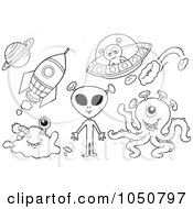 Royalty Free RF Clip Art Illustration Of A Coloring Page Of Aliens Rockets And Flying Saucers by visekart