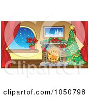 Royalty Free RF Clip Art Illustration Of A Christmas Tree And Fireplace In A Room With Curtains by visekart