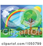 Royalty Free RF Clip Art Illustration Of A Spring Landscape With A Sun Tree Creek Fence Rainbow And Rain by visekart