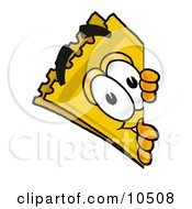 Yellow Admission Ticket Mascot Cartoon Character Peeking Around A Corner