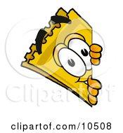 Yellow Admission Ticket Mascot Cartoon Character Peeking Around A Corner