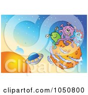 Royalty Free RF Clip Art Illustration Of A Foreign Planet With Aliens And UFOs by visekart