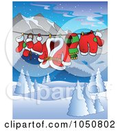 Royalty Free RF Clip Art Illustration Of Santas Clothes On A Line Over A Winter Landscape by visekart