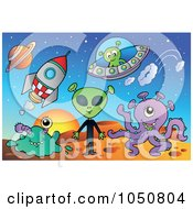 Royalty Free RF Clip Art Illustration Of Aliens Rockets And Flying Saucers On A Planet