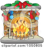 Royalty Free RF Clip Art Illustration Of A Christmas Hearth With Stockings