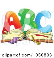 Royalty Free RF Clip Art Illustration Of ABC Over An Open Book by visekart