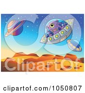 Royalty Free RF Clip Art Illustration Of UFOs Flying Over A Foreign Planet Landscape by visekart