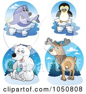 Royalty Free RF Clip Art Illustration Of A Digital Collage Of Arctic Animal Logos by visekart