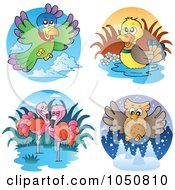 Royalty Free RF Clip Art Illustration Of A Digital Collage Of Parrot Duck Flamingo And Owl Logos by visekart
