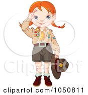 Royalty Free RF Clip Art Illustration Of A Saluting Scout Girl