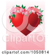 Royalty Free RF Clip Art Illustration Of A Valentines Day Background Of A Red Floral Heart Over Pink