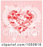 Royalty Free RF Clip Art Illustration Of A Valentines Day Background Of A Floral Heart And Butterflies Over Pink Rays