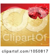 Royalty Free RF Clip Art Illustration Of A Valentines Day Background Of Ruby Hearts Over Gold Floral by Pushkin