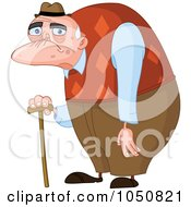 Royalty Free RF Clip Art Illustration Of A Wrinkled Old Man With A Cane