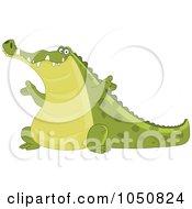 Royalty Free RF Clip Art Illustration Of A Happy Crocodile Presenting