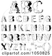 Royalty Free RF Clip Art Illustration Of A Digital Collage Of Black And White Abc Alphabet Letters
