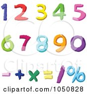 Digital Collage Of Colorful Math Number Digits And Symbols