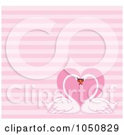 Pink Stripe Valentine Background With Two Swans And A Heart