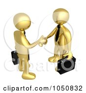 Royalty Free RF Clip Art Illustration Of A 3d Gold Business Men Shaking Hands