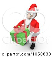 Royalty Free RF Clip Art Illustration Of A 3d Santa Holding A Green Gift by 3poD