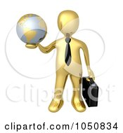 Royalty Free RF Clip Art Illustration Of A 3d Gold Business Man Holding A Globe