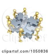 Poster, Art Print Of 3d Gold Men Assembling A Puzzle