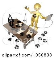 3d Gold Man Being Attacked By Spam Email
