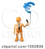 Royalty Free RF Clip Art Illustration Of A 3d Orange Man Holding A Euro Phone by 3poD