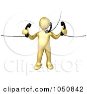 Royalty Free RF Clip Art Illustration Of A 3d Gold Man Handling Multiple Phones by 3poD