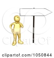 Royalty Free RF Clip Art Illustration Of A 3d Gold Man Pondering By A Blank Directional Sign by 3poD
