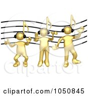 Royalty Free RF Clip Art Illustration Of 3d Gold Men With Music Note Heads Wearing Headphones