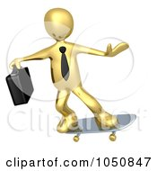 Royalty Free RF Clip Art Illustration Of A 3d Gold Business Man Skateboarding