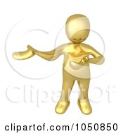 Royalty Free RF Clip Art Illustration Of A 3d Gold Man Presenting by 3poD