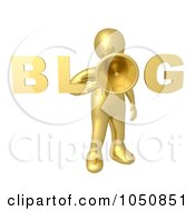 Royalty Free RF Clip Art Illustration Of A 3d Gold Blog Man Holding A Megaphone by 3poD