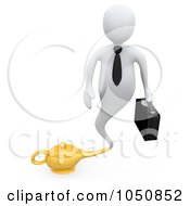 Royalty Free RF Clip Art Illustration Of A 3d White Genie Business Man