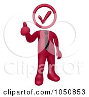 Royalty Free RF Clip Art Illustration Of A 3d Burgundy Red Business Man With A Check Head Holding A Thumb Up
