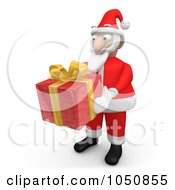 Royalty Free RF Clip Art Illustration Of A 3d Santa Holding A Red Gift