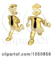 Royalty Free RF Clip Art Illustration Of A 3d Gold Business Men Running With Euro And Dollar Heads