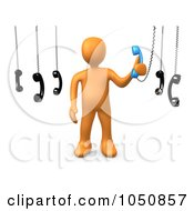 Royalty Free RF Clip Art Illustration Of A 3d Orange Man Answering An Important Call