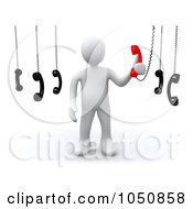 Royalty Free RF Clip Art Illustration Of A 3d White Man Answering An Important Call by 3poD