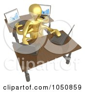 Royalty Free RF Clip Art Illustration Of A 3d Gold Man Multi Tasking On Laptops