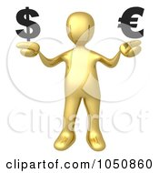 Royalty Free RF Clip Art Illustration Of A 3d Gold Man Weighing The Euro And Dollar